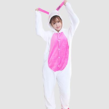 Adulți Pijama Kigurumi Rabbit bunny Animal Pijama Întreagă Coral Fleece Cosplay Pentru Bărbați și femei Sleepwear Pentru Animale Desen animat Festival / Sărbătoare Costume