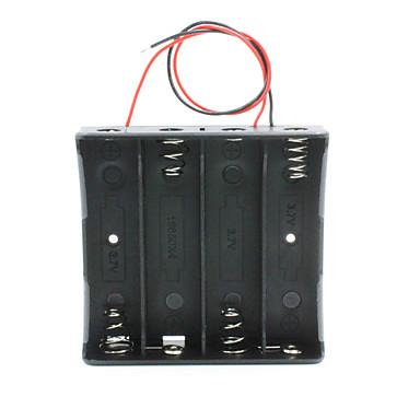 14.8v 4 * 18650 caixa de caso suporte da bateria com cabos - preto