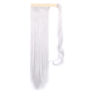 실버 길이 60cm 새로운 벨크로 혼합 된 색 긴 직선 공기 가발 말꼬리 (색상 실버)
