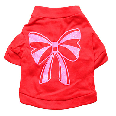 고양이 / 개 티셔츠 레드 강아지 의류 여름 리본매듭 패션