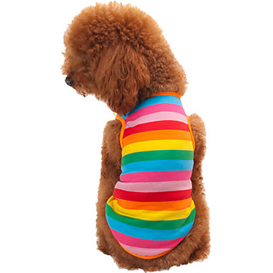 cheap Dog Clothing & Accessories-Cat Dog Shirt / T-Shirt Dog Clothes Stripes Rainbow Cotton Costume For Spring &  Fall Summer Men's Women's Fashion