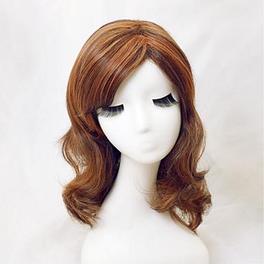 Συνθετικές Περούκες Με αφέλειες Με τα Μπουμπούκια Πυκνότητα Γυναικεία Καφέ Καρναβάλι περούκα Απόκριες Περούκα Συνθετικά μαλλιά