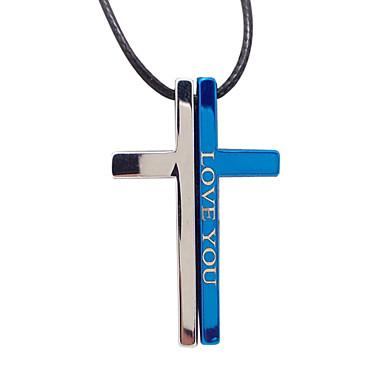 szeretlek egyszerű kereszt pár nyaklánc nyaklánc titán biblia