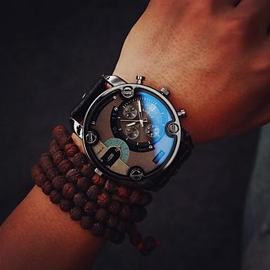 Недорогие Часы на металлическом ремешке-Муж. Армейские часы Кварцевый Кожа Черный / Коричневый 30 m Повседневные часы Аналоговый Роскошь Винтаж - Черный Коричневый Один год Срок службы батареи / Tianqiu 377