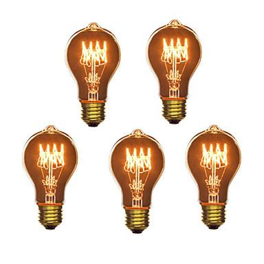 HRY 5pcs 40 W E26/E27 A60(A19) 2300 K Izzólámpa Vintage Edison izzó AC 220-240V V