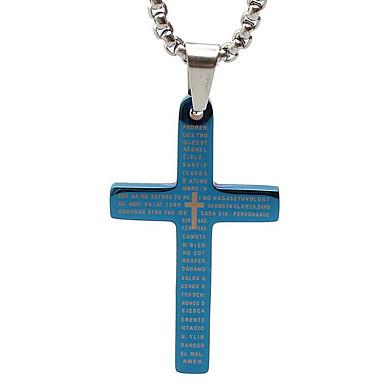성경 용지 티타늄 목걸이 펜던트 복고풍 크로스 - 블루 매체