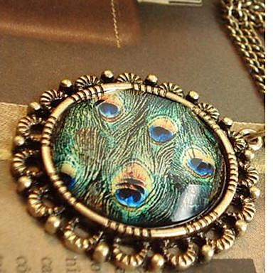 billige Mode Halskæde-Dame Halskædevedhæng Cirkelformet Geometrisk form Påfugl Legering Mode Justérbar Smykker Til Halloween Daglig Afslappet