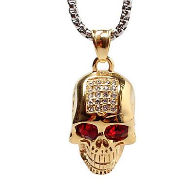 luxus személyiség fúró koponya szelleme fej titán acél nyaklánc - arany (ide nem értve a lánc)