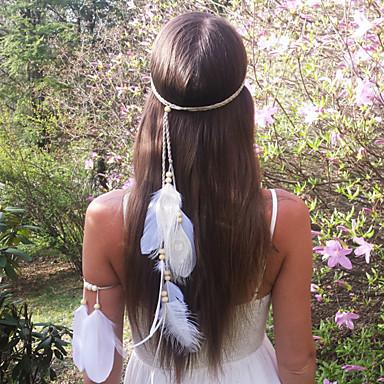 여성의 패션 보헤미아 깃털 나무 구슬 1 개를 머리띠