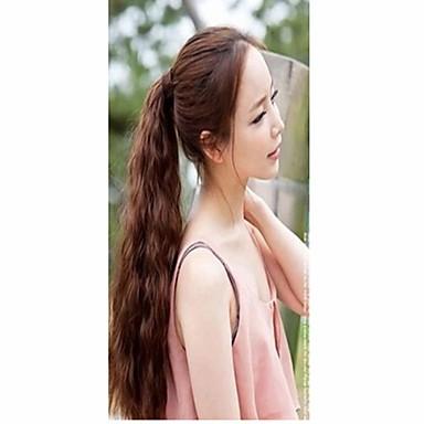 Tape-in Golvend synteettinen Haar stuk Haarextensies Bruin