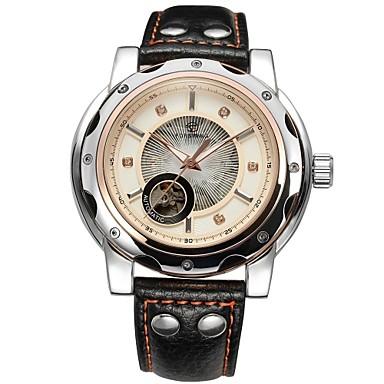 FORSINING Herrn Mechanische Uhr Transparentes Ziffernblatt Leder Band Luxus Schwarz / Automatikaufzug