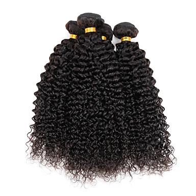 인모 인도인 헤어 인간의 머리 직조 Kinky Curly 컬리 위브 헤어 익스텐션 4 개 자연 색상