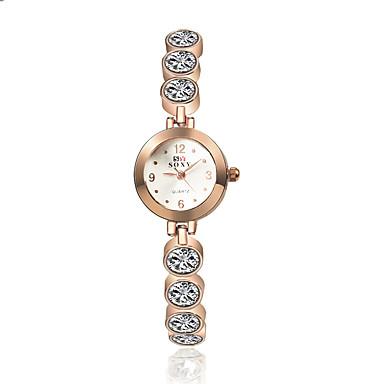 여성용 팔찌 시계 패션 시계 석영 캐쥬얼 시계 합금 밴드 참 우아한 골드