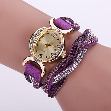 Women's Quartz Simulated Diamond Watch Wrist Watch Bracelet Watch / Imitation Diamond Leather Band Flower Bohemian Fashion Black White