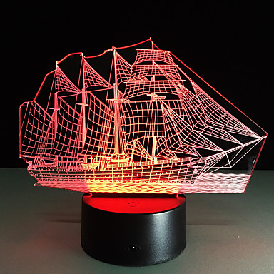 δημιουργική 3d φώτα 3D LED νύχτα φως ακρυλικά πολύχρωμη ατμόσφαιρα κλίση λάμπα ιστιοφόρο σχήμα αποχρωματισμό