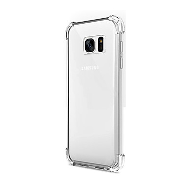 Capinha Para Samsung Galaxy Samsung Galaxy S7 Edge Antichoque Transparente Capa traseira Côr Sólida TPU para S7 edge S7