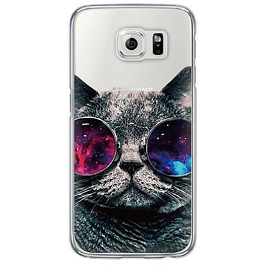 Недорогие Чехлы и кейсы для Galaxy S6-Кейс для Назначение SSamsung Galaxy S7 edge / S7 / S6 edge plus Ультратонкий / Полупрозрачный Кейс на заднюю панель Кот Мягкий ТПУ