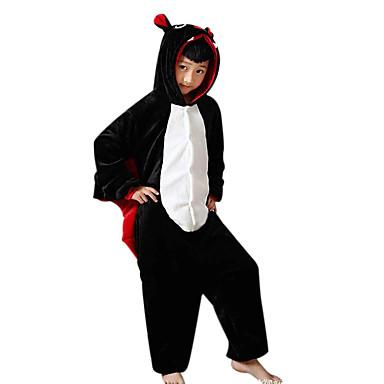Pentru copii Pijama Kigurumi Băţ Animal Pijama Întreagă Flanel Lână Negru Cosplay Pentru Baieti si fete Sleepwear Pentru Animale Desen animat Festival / Sărbătoare Costume
