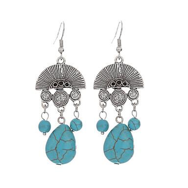 여성용 드랍 귀걸이 빈티지 보헤미안 은 도금 터키석 합금 Geometric Shape 드롭 보석류 블루 일상 캐쥬얼 의상 보석