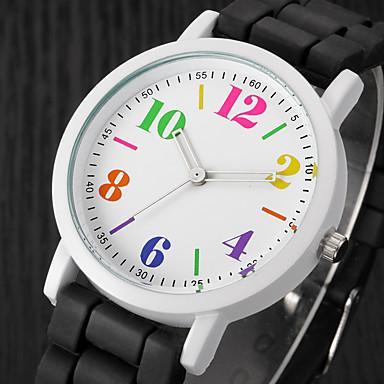 Dame Armbåndsur Quartz Afslappet Ur Silikone Bånd Analog Vedhæng Afslappet Mode Sort / Hvid / Blåt - Sort / Hvid Regnbue Lys Grøn