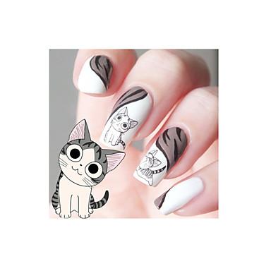 1PCS 설계 행복 귀여운 고양이 패턴 물 데칼 전송 네일 아트 살롱 장식 스티커 팁 DIY 장식