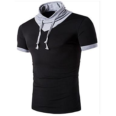 economico Abbigliamento uomo-T-shirt Per uomo Sport Attivo Tinta unita Colletto alla coreana - Cotone Bianco L / Manica corta / Estate