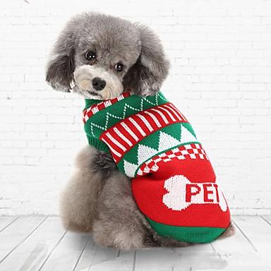 고양이 강아지 스웨터 강아지 의류 캐쥬얼/데일리 따뜻함 유지 크리스마스 스트라이프 그린 블루 코스츔 애완 동물
