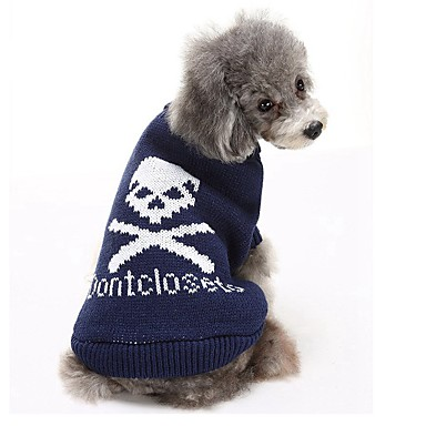 cheap Dog Clothing & Accessories-Cat Dog Sweater Dog Clothes Skull Gray Blue Pink Cotton Costume For Winter Men's Women's Casual / Daily Keep Warm