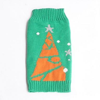 고양이 개 스웨터 강아지 의류 겨울 눈송이 휴일 크리스마스 그린