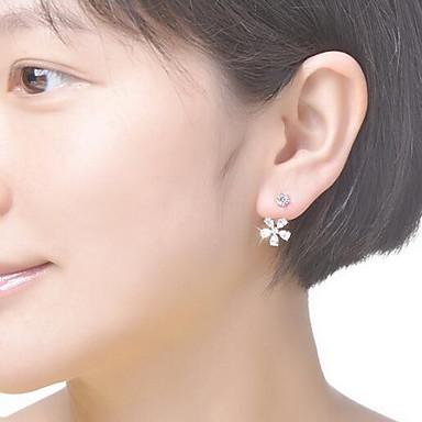 러브 패션 지르콘 모조 큐빅 은 도금 Flower Shape 실버 보석류 용 일상 캐쥬얼 1 쌍