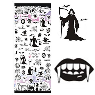 Nail Art matrica Fél tip Körömfestés tippek Víz Transfer Matricák Körömékszerek Rajzfilm Szeretetreméltő smink Kozmetika Nail Art Design
