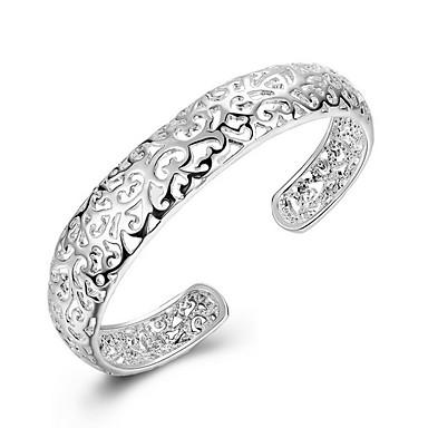 Damskie Srebro standardowe Godny podziwu Bransoletki bangle Bransoletki cuff - Spersonalizowane Modny Zaokrąglanie Circle Shape Silver