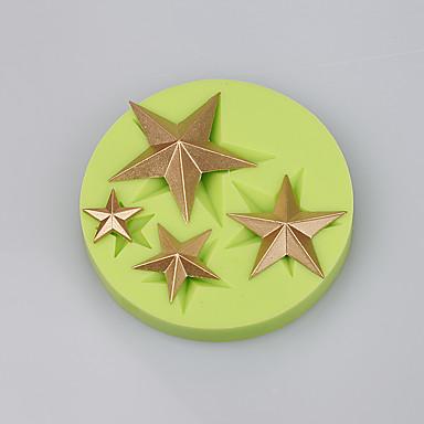별 모양 실리콘 케이크 금형 장식 초콜릿 퐁당 케이크 도구 ramdon 색상