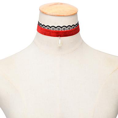 여성용 드롭 술 패션 초커 목걸이 진주 목걸이 펄 레이스 초커 목걸이 진주 목걸이 , 결혼식 파티 일상 캐쥬얼