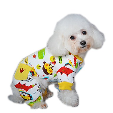 cheap Dog Clothing & Accessories-Dog Jumpsuit Pajamas Dog Clothes Cartoon Yellow Red Blue Polar Fleece Costume For Spring &  Fall Winter Men's Women's Casual / Daily
