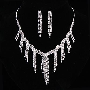 Ékszer készlet Nyaklánc / fülbevaló Divat Ezüst Nyakláncok Naušnice Mert Esküvő Parti 1set Esküvői ajándékok