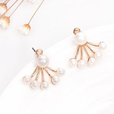 Mulheres Brincos Compridos - Pérola, Chapeado Dourado Fashion Branco Para Casamento / Festa / Casual