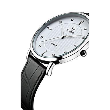WWOOR Męskie Kwarcowy Kwarc japoński Zegarek na nadgarstek Wodoszczelny sztuczna Diament Skóra naturalna Pasmo Modny Nowoczesne Czarny
