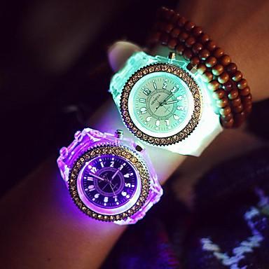 Damskie Zegarek na nadgarstek Modny Kwarcowy LED Srebrzysty Świecący Silikon Pasmo Błyszczące Na co dzień Nowoczesne Czarny Biały