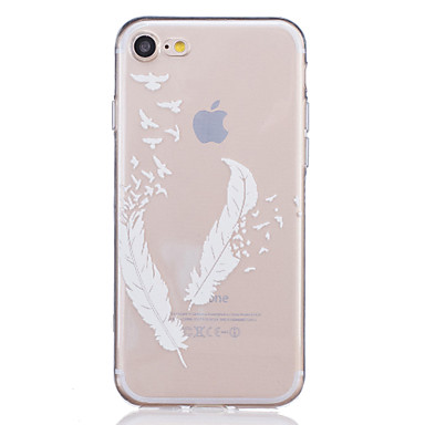 abordables Coques pour iPhone 5-Coque Pour Apple iPhone X / iPhone 8 / iPhone 7 Transparente / Relief / Motif Coque Plumes Flexible TPU pour iPhone X / iPhone 8 Plus / iPhone 8