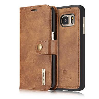 Mert Samsung Galaxy S7 Edge Kártyatartó / Flip Case Teljes védelem Case Egyszínű Kemény Valódi bőr Samsung S7 edge / S7