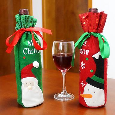2 개 뜨거운 판매 크리스마스 장식 산타 클로스 눈사람 레드 와인 병 커버