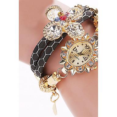 Kadın's Bilezik Saat Moda Saat Quartz PU Bant Vintage Günlük Siyah Beyaz Mavi Kırmızı Kahverengi Pembe