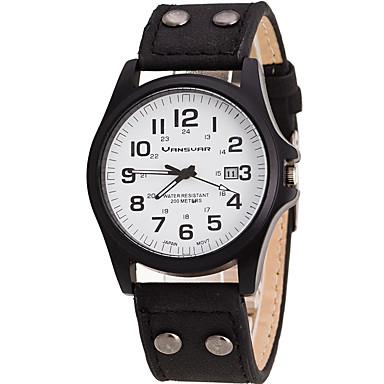 남성용 석영 손목 시계 달력 가죽 밴드 캐쥬얼 멋진 블랙 화이트 브라운