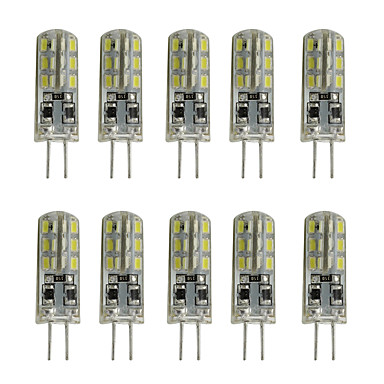 10pcs 1W 200lm G4 LED Bi-pin Lights Tube 24 LED Beads SMD 3014 Decorative Warm White Cold White 12V