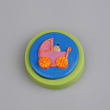 babakocsi alakú szilikon öntőforma fondant torta díszítő színes random