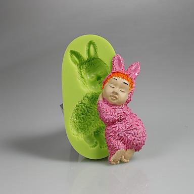 3d fondant torta dekoráció eszköz szilikon baba alakú penész, kézzel készített szappan penész színe véletlenszerű