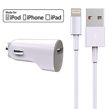 töltő készlet autós töltő 1 usb port kábel ipad iphone 8 7 samsung s8 s7 (5v2.4a)