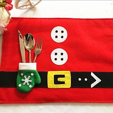 1 개 크리스마스 테이블 매트&장갑 나이프 포크 가방 크리스마스 가정 용품 바탕 화면 장식 크리스마스를위한 최고의 선물