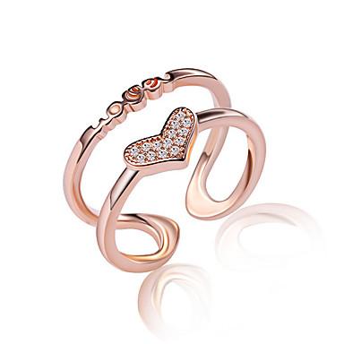 Női Kristály / Szintetikus gyémánt Crossover Band Ring / Ujjperc gyűrű - Rose Gold, Ezüst Divat Egy méret Ezüst / Aranyozott Kompatibilitás Esküvő / Parti / Napi
